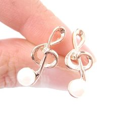 Classic Treble Clef Music Note Shaped Stud Earrings in Rose Gold with Pearl Detail