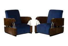 Pair Art Deco Walnut Armchairs, France circa 1930