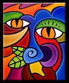 Art 'Whisper - Color - by Thomas C. Fedro from Color Inspirational colourful art for PR with Perkes Pinturas Art Deco, Cubist Art, Abstract Face Art, Picasso Art, Small Canvas Art, Africa Art, Arte Pop, Art Portfolio, Fabric Painting