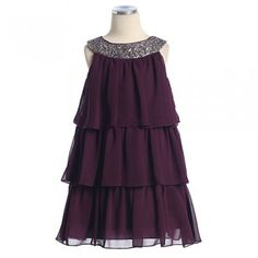 Girls Plum Tiered Sequined Holiday Pageant Flower Girl Dress 2-16
