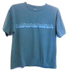Covington Blue Green Shirt Size L 100% Cotton Palm Trees on Front Short Sleeve #Covington #PullOver