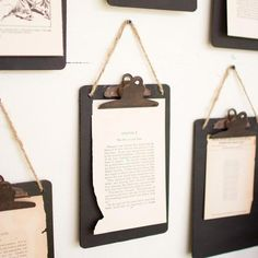 Add a vintage industrial touch to any room with these mini clipboards featuring a black finish, rusty clips, and a jute hanger. These clipboards look beautiful holding everything from household notes to vintage photos and the boards can display messages. Vintage Industrial Decor, Vintage Home Decor, Vintage Office Decor, Industrial Office, Industrial Interiors, Industrial Wall Art, Industrial Design, Industrial Lighting, Industrial Furniture