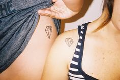 matching diamond tattoos- Love this! Could mean: a girls beat friend or an…