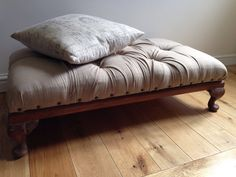 Linen ottoman by salvage and paint