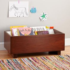 Kids Book Bins: Walnut Book Storage Bin in Bookcases Kids Storage Bins, Book Storage, Storage Ideas, Walnut Furniture, Kids Furniture, Playroom Decor, Kids Decor, Book Bins, Book Shelves