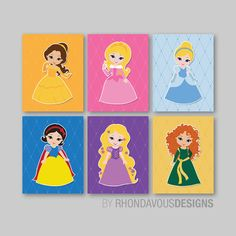 Baby Girl Nursery Print Art - Colorful - Disney Princess Nursery Decor - Kids Wall Art - Princess Nursery Art  - You Pick the Size (NS-465) on Etsy, $40.00