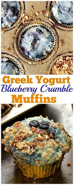 Greek Yogurt Blueberry Crumble Muffins - Moist and flavorful, these muffins are loaded with fresh blueberries and topped with a buttery crumble! YUM.