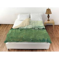 IDG Vista Impression 2 Duvet Cover: 100 percent polyester face, 50 percent polyester cotton blend back. Available in King, Queen and Twin. Green Bedding, Shades Of Green, Mattress, Duvet Covers, Toddler Bed, Furniture, Design, Walmart, Home Decor