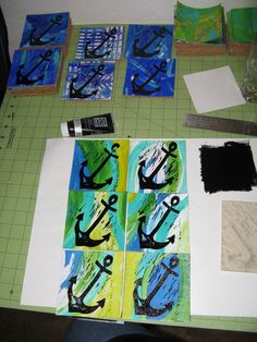 I started by creating LOTS of Gelli prints with acrylic paint on card stock paper.  I used stamps right in the wet paint, stencils, and slow-drying medium in the paint to create some with the painterly style. Once I finished printing I divided them into groups that would look nice as a set.
