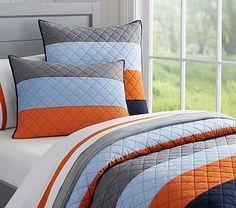 Blocked Stripe Quilted Bedding Tye's Bedroom Bedding