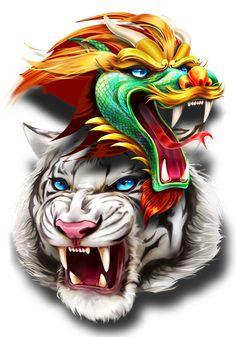 Tiger Dragon, Dragon Art, Tigers Game, Cool Dragons, Tiger Art, Game Ui, Airbrush, Quotation, Tattos