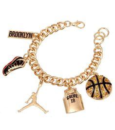 Gold Basketball Charm Chain Bracelet Jordan Sneaker Jersey Gold Plated #Charm #Bracelet #Jordan #Basketball #Sports #Jewelry #Lovemycelebritylooks