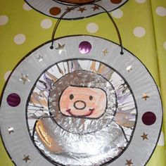 Astronaut drawn on aluminum foil. Cut circle from cards stock or paper plate. Then decorate window. Astronaut PDF