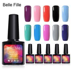 BELLE FILLE 10ml Soak Off Gel Polish UV Gel Nice Color Nail Polish Pick Any 6 Colors Long-Lasting Nail Art Gel Nail Polish