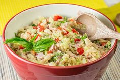This hearty salad gets its nutty flavour from the quinoa, its crunch from the chopped cucumbers and red peppers, and its terrific aroma from the fresh basil.