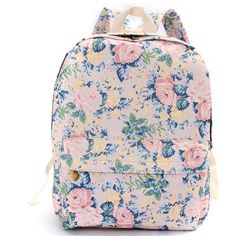Women Canvas Floral Printed Backapck Satchel Rucksack ($17) ❤ liked on Polyvore featuring bags, backpacks, pink canvas backpack, satchel backpack, satchel handbags, floral satchel and pink backpack