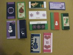 Christmas Cards I made with two birthday cards down the bottom