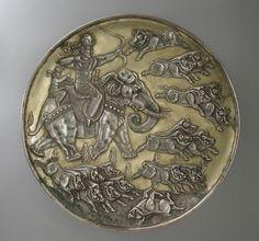 Shapur II Hunting Sassanian Silver Plate Gift of Nasli M. Heeramaneck (M.76.174.18)