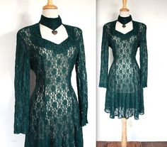773cabfb43c Vintage 1980 s   1990 s Pine Green Sheer Lace Cocktail Dress    Heart Choker