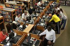 On any given day, the divide between Internet haves and have-nots makes itself known in the quiet quarters of North Jersey's public libraries. In places like the Johnson Public Library in Hackensack or the Paterson Free Public Library, 10 to 20 people often crowd into special areas, not to read books, but to use free public computers.