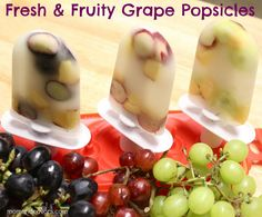 grapes, nec­tarines, and 100% white grape juice.  To make, just cut up your grapes & nec­tarines. Then, place the fresh fruit into your pop­si­cle mold, put your stick in, fill with the white grape juice, and freeze.