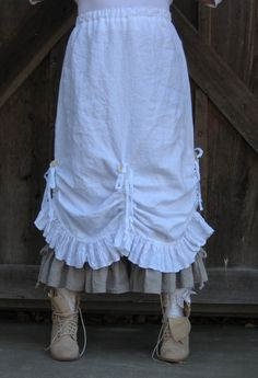 linen skirt ruched and ruffled. $139.00, via Etsy.