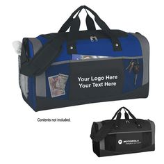 """Personalized Quest Duffel Bags: Available Colors: Royal Blue, Black. Imprint Area: 6 1/2"""" W x 4 3/4"""" H. Box Weight: 30 lbs. Packaging: 20. Material: 600D And 300D Polyester. #QuestDuffelBags #promotionalproduct #customproduct  #custombags  #customduffels"""