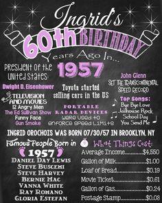 60 cumpleaños pizarra 1957 cartel hace 60 por ChalkingItUpBoards