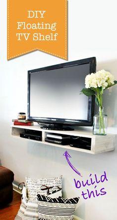 Diy Floating Tv Shelf This Looks So Easy To Make Pretty Handy Prettyhandytutorial