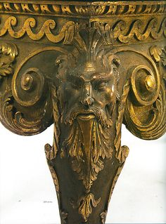 Detail of leg of a Side Table (one of a pair). After a design by Matthias Lock (English, ca. 1710–1770), ca. 1740, English, Carved gilt pine with verde antico marble veneered top. (c) Metropolitan Museum of Art