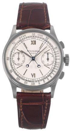 Patek Phillipe Ref. 1436 rattrapante (double) chronograph watch sold for about $ 1.12 million at an Antiquorum auction