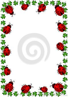 Illustration about Frame border with ladybugs and clovers. Vector or png available. Illustration of cartoon, clubs, frame - 28141006 Ladybug Crafts, Ladybug Party, Page Borders, Borders And Frames, Lady Bug, Clip Art, Note Paper, Border Design, Printable Paper