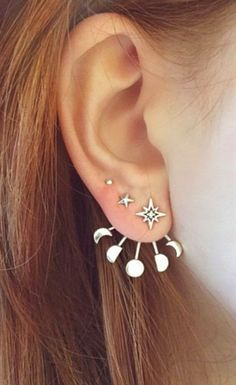 Cute Ear Piercing Ideas - Moon Phases Ear Jacket Earring Climber - Universe Galaxy Crescent - at MyBodiArt.com