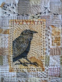 Raven-Maybe find image of raven online print out and use styrofoam to create a block print for design... Or all in fabric