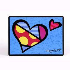 Britto Blue Heart Placemat 4th Grade Art, Graffiti Painting, Valentines Art, Atc Cards, Funky Art, Arte Pop, Modern Artists, Graphic Patterns, Heart Art