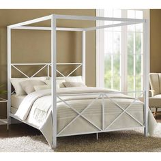 furniture Poster Canopies - Four Poster Bed Frame Canopy Queen Size Modern Platform Bedroom Furniture White Queen Canopy Bed, Metal Canopy Bed, Canopy Bed Frame, Canopy Bedroom, White Canopy, Diy Canopy, Canopy Tent, White Bedding, Backyard Canopy