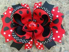 Large red and black Boutique Hair Bow Lady Bug Boutique Stacked Hair Bow Hair Clip