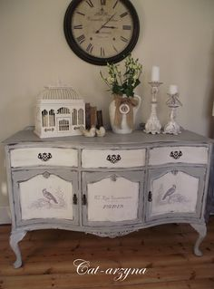 this dresser was brown wood and the owner has chalk painted and distressed it - pretty