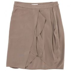 Pre-owned Vanessa Bruno Brown Silk Skirt ($98) ❤ liked on Polyvore featuring skirts, brown, women clothing skirts, brown knee length skirt, vanessa bruno skirt, brown skirt, brown silk skirt and wrap skirt