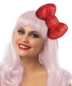 Hello Kitty Sequin Bow Hair Clip.  This bow makes an awesome addition to your Hello Kitty Halloween Costume! | Hello Kitty Hair Bow | Hello Kitty Halloween Costume | #affiliatelink #ad #hellokitty #sanrio #red #bow #hair #clip #sequin #halloween #costume #kawaii #women #girls #kikilovestopin