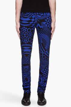 VERSUS Royal blue geometric patterned jeans