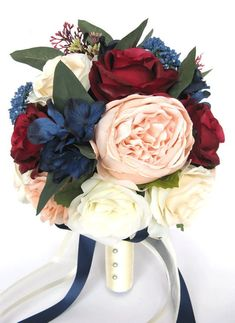 "17 piece Wedding Bouquet package Bridal Bouquets Artificial Silk flowers Peach BLUSH BURGUNDY NAVY Blue Wine flower bouquet ""RosesandDreams"""