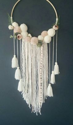 25 Super Ideas For Baby Nursery Diy Projects Pom Poms Shabby Chic Embroidery, Embroidery Hoop Crafts, Embroidery Patterns, Baby Shower Wall Decor, Shabby Chic Girl Room, Diy Crafts For Tweens, Wall Hanging Crafts, Hoop Dreams, Art Diy
