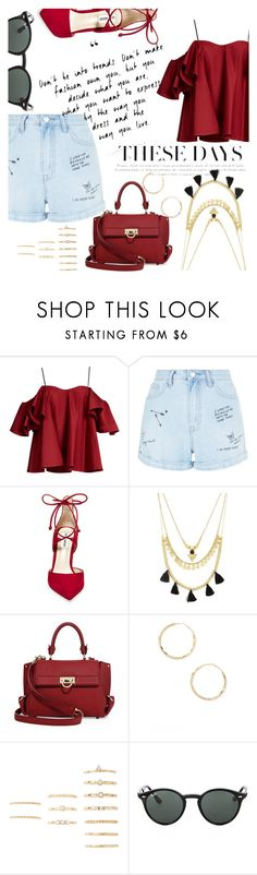 """""""Hot In Red"""" by janaboughanem ❤ liked on Polyvore featuring Anna October, New Look, Steve Madden, Forever 21, Salvatore Ferragamo and Ray-Ban"""