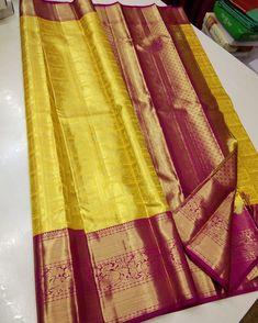 Mysore Silk Saree, Silk Saree Kanchipuram, Pure Silk Sarees, Silk Saree Blouse Designs, Bridal Blouse Designs, Yellow Saree Silk, Wedding Silk Saree, Wedding Dress, Indian Sarees Online