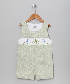 Look at this #zulilyfind! Green Gingham Seahorse John Johns - Infant & Toddler by Classy Couture #zulilyfinds