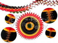 Celebrate Kwanzaa with this fantastic set of red, gold, black, and green honeycomb decorations - balls, fans, and garlands.  Made in the USA. #DevraParty