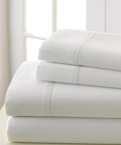$59.99! Take a look at this White Rich Stripe 700-Thread Sheet Set by Colonial Home Textiles on #zulily today!