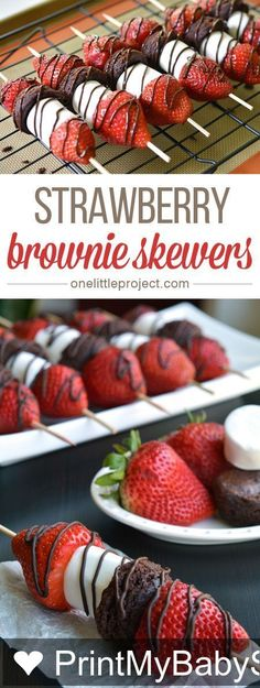 Like & Share These strawberry brownie skewers are a GREAT single serving dessert! Make them for a summer barbecue or picnic, or even just as an easy weeknight dessert! … Print My Baby Shower! http://onelittleproject.com/strawberry-brownie-skewers/