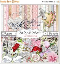 50% OFF TODAY Wedding Digital Scrapbook Kit for Marriage, Romance, Bridal Shower Scrapbooking, Cards, Photographs, Instand Download  #wedding #bigday #scrapbooking #scrapbookingkits #digiscrapdelights